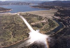 Oroville Dam--Oroville, Butte County, California  Tallest dam in United States (770 ft).    My father helped sandbag the still under construction dam (and avert further disaster) during the Christmas Flood of 1964.  He even scored some silver screen time in a newsreel.  Go Dad.