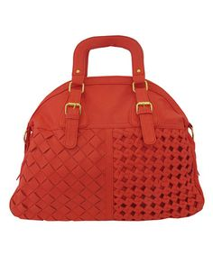 Take a look at this Coral Basket Weave Satchel by Yoki on #zulily today!
