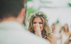 Votos de casamento: noiva emocionada na cerimônia - Foto Studio 47