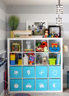 Furniture Kids Room. Lovely Playroom Storage Ikea Design Inspirations. Interesting Playroom Storage Ikea Design Visible From The Front Feature White And Blue Modern Cabinet With Shelves And White Photos Frame And Modern Pendant Light Along With Cream Hat As Well As Grey And White Striped Pattern Painted Wall And Assorted Color Floral Pattern Rug Also Grey Rug Floor. Playroom Storage Ikea