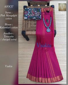 Saree Color Combinations, Kalamkari Fabric, Indian Wear, Indian Style, Saree Tassels, Fancy Sarees, Handloom Saree, Anarkali Suits, Beautiful Saree