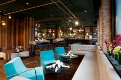 Burdock is a new restaurant that's just opened on the ground floor of the Montcalm Royal London House Hotel in East London. London House Hotel, Green Armchair, Restaurant Interior Design, Wooden Walls, Modern Chairs, Ground Floor, Restaurant Bar, Modern Interior, A Table