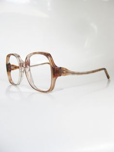 1980s Transparent Glasses Oversized Vintage Eyeglasses Womens Rust Brown Tortoiseshell Fade Brown USA Retro Geek Chic