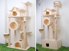 Awesome cat condo! I'm going to see if my step-dad can help me make something similar to this.