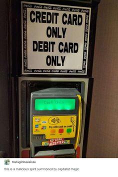Credit, debit or cash only.
