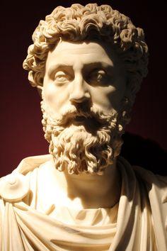Marble bust of Marcus Aurelius (161–180 AD). Capitoline Museums, Rome.