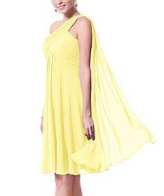 Yellow Draped Chiffon Asymmetric Dress #zulily #zulilyfinds