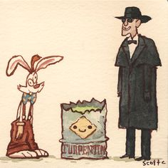 Who Framed Roger Rabbit - Scott Campbell Reimagines Famous Movie Showdowns Famous Movies, Good Movies, Disney Love, Disney Art, Non Plus Ultra, Roger Rabbit, Scott Campbell, Fan Art, Disney And Dreamworks