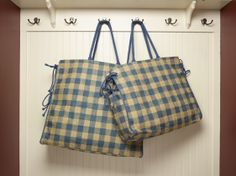 Our Gingham #blue #picnic #plaid #burlap #tote with plastic lining. #fashion #handbags #reduce #reuse #recycle