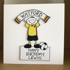 A personal favourite from my Etsy shop https://www.etsy.com/uk/listing/554920491/watford-fc-personalised-football