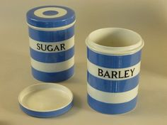 vintage canisters - TG Green Cornish Kitchen Ware - Blue Stripe