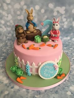 Peter Rabbit and Friends Single Tier Cake Peter Rabbit Party, Peter Rabbit Cake, Peter Rabbit Birthday, 1st Birthday Cake For Girls, Birthday Cake Decorating, Birthday Cake Girls, 2nd Birthday, Single Tier Cake, Peter Rabbit And Friends