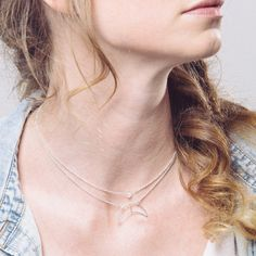 crescent moon short necklace / larissa sterling silver / minimalistic boho festival jewelry / adjustable stackable choker / hand crafted USD 62.00  by hartandstone, based in Victoria, Canada, and selling on Etsy
