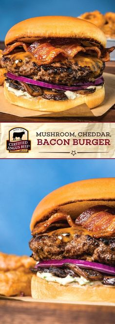 The Certified Angus Beef®️️️️️ brand Mushroom, Cheddar, and Bacon Burger combines the BEST ground chuck with portabella mushrooms, cheddar cheese, bacon and onion for a deeply FLAVORFUL burger recipe! Best Beef Recipes, Roast Recipes, Dog Recipes, Cooking Recipes, Hamburger Recipes, Barbecue Recipes, Stuffed Burger Recipes, Cooking Tips, Best Burger Recipe