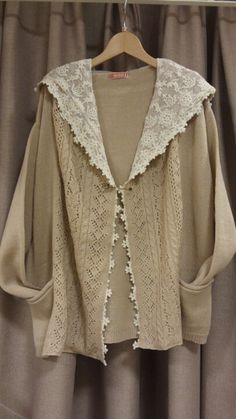 Lovely oversized beige cardigan with lace panels at the front and tulle lace collar ~~ http://ana-rosa.tumblr.com/post/47458674296
