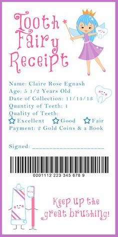 tooth fairy receipt.... this is darling and i love the idea of a book to go with the coins