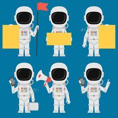 Astronaut Holding Paper Phone Megaphone