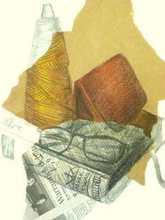 Mixed Media Still Life, torn craft paper and newspaper, pencil crayon, pencil, charcoal