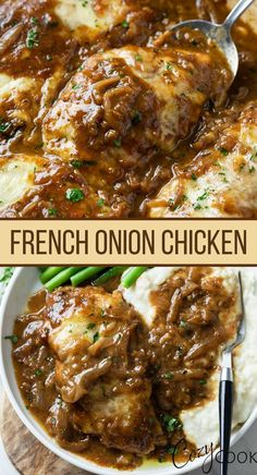 Easy Chicken Recipes, Simple Chicken Dishes, French Chicken Recipes, Food Dishes, Main Dishes, French Onion Chicken, Cooking Recipes, Healthy Recipes, Main Meals