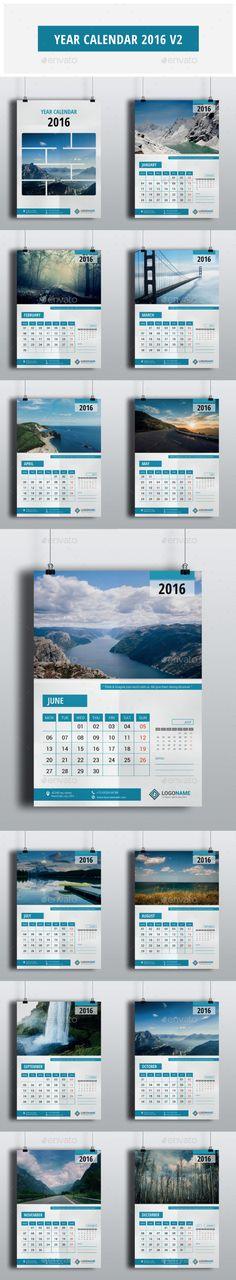 Year Calendar 2016 Vector Template EPS, AI #design Download…