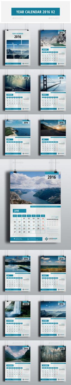 Year Calendar 2016 Vector Template EPS, AI #design Download: http://graphicriver.net/item/year-calendar-2016-v2/13602929?ref=ksioks