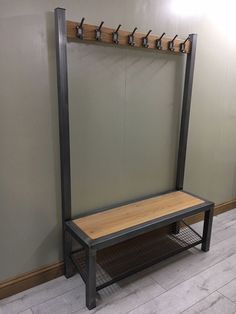 steel furniture Industrial hallway steel bench with shoe / boot storage with coat rack / rail Diy Furniture, Hallway Storage, Steel Furniture, Industrial Shoe Rack, Industrial Hallway, Coat And Shoe Storage, Steel Bench, Metal Furniture, Boot Storage