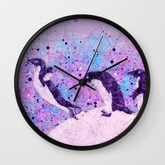 Up, Up and ahhhh Splash - Penguin Geometry Art Wall Clock    Also on many more products from clothing to phone cases and wall art etc    #wallclock #wallart #clock #clock