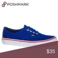 NEW👟Vans👟Youth Size 12 Blue Off the Wall Shoes Brand spankin new size 12 Vans. My husband bought them for himself not realizing they were a youth 12, not a men's 12. Our loss=your gain! Exact vans as is seen in stock photo, never worn!! Vans Shoes Sneakers