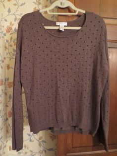 KENAR Boat Neck Brown Sweater Cut Out Detail Long Sleeve L Thin Knit Warm Cozy  #Kenar #BoatNeck