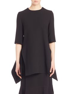Marni Belted Asymmetrical Wool Top In Black Sweet Stranger And Me, Half Sleeves, Marni, Tunic Tops, Belt, Wool, How To Wear, Clothes, Shopping
