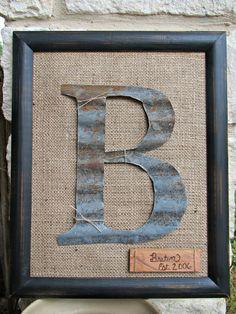 Framed Barn Tin Initial by WeldHouseWares on Etsy, $58.00