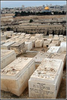 Jewish Cemetery on Mount of Olives in Jerusalem. Instead of flowers, which would not last long, people put stones on the graves to indicate that they have visited.