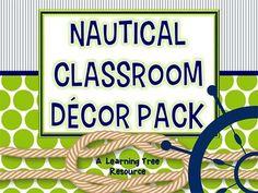 Nautical Classroom Theme Decor {Lime & Navy} EDITABLE