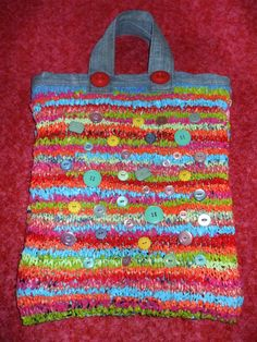 Recycled kitted plastic bag with denim from old jeans & vintage button trim