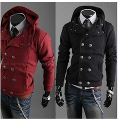 New Korean Style Winter peacoats for men Jackets Hoody cotton Double Button Hoody coat designer trench coat,Free Shipping