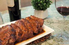 Carne assada com vinho do porto e molho barbecue