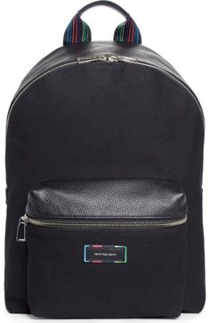 PAUL SMITH Leather Trim Canvas Backpack. #paulsmith #bags #leather #canvas #backpacks #