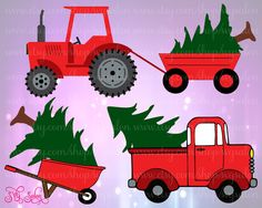 Christmas Tree Delivery Cutting Files in Svg Eps Dxf Jpeg for Cricut & Silhouette with Tractor Wagon Truck and Wheelbarrow