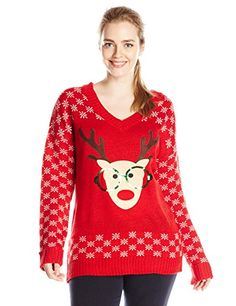 Derek Heart Junior's Plus-Size Nerdy Reindeer with Sequin Ugly Christmas Sweater, Red, 2X