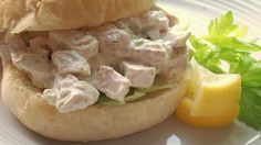 Sometimes the best approach is the simplest one, as in this mix of chicken, mayonnaise, almonds and celery. Use herbed chicken for extra flavor.