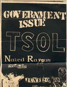 Government Issue, TSOL, Naked Raygun punk hardcore flyer