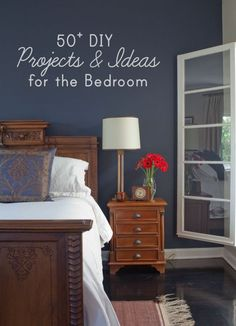 i love this slate blue, white, and medium wood furniture. (50+ DIY Project Ideas for the Bedroom)