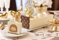 White Chocolate-Coffee Log Cake with Kahlua Profiteroles and Espresso Genoise