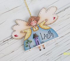 Hand Painted Angel Christmas Ornament by ToletallyPainted