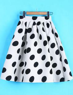 $20, White and Black Polka Dot Skater Skirt: Polka Dot Midi Skirt. Sold by Romwe. Click for more info: https://lookastic.com/women/shop_items/133042/redirect