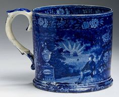 Northeast Auctions - THE COLLECTION OF CHESTER CREUTZBURG AND DAVID MARTIN - PART ONE. 3/5/16.  Lot 97: LAFAYETTE AT WASHINGTON'S TOMB,' STAFFORDSHIRE DARK BLUE TRANSFER-PRINTED CIDER TANKARD, THOMAS MAYER, STOKE, 1826-35.  Estimated Price: $2,000 - $3,000. Realized: $2,520 (2,100).  Description: Height 5 1/4 inches, diameter 5 5/8 inches. Sprayed on the interior, handle and under the base, two restored cracks visible in raking light on one side and one across the base, restored chips…