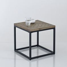 Bout de canapé métal et bois, H40 cm, Nottingham