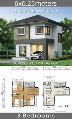 Small House Plan with 3 bedrooms – Home Ideassearch Kleines Haus Plan mit 3 Schlafzimmern – Home Ideassearch House Plans Desgin Ideas Samphoas Two Story House Design, 2 Storey House Design, Bungalow House Design, Tiny House Design, Modern House Design, House Plan Two Story, Small Bungalow, Three Bedroom House Plan, Two Storey House Plans