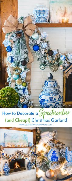 How to Decorate a Spectacular and Cheap Christmas Garland, Blue & White Christmas Garland, French Linen Blue and White Garland White Christmas Garland, Flocked Garland, Christmas Staircase Decor, White Garland, Cheap Christmas, Coastal Christmas, Christmas Mantels, Blue Christmas, Christmas Home