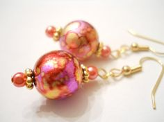 Pink Watercolor Earrings Handpainted Earrings by chicagolandia, $22.00